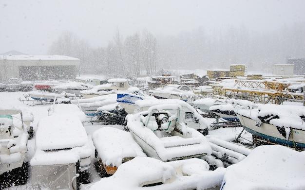 Imbarcazioni da diporto sotto la neve