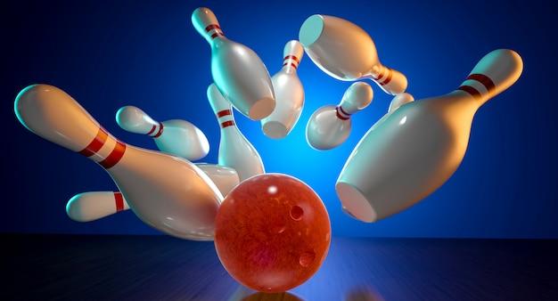 Immagine 3d dell'azione di bowling