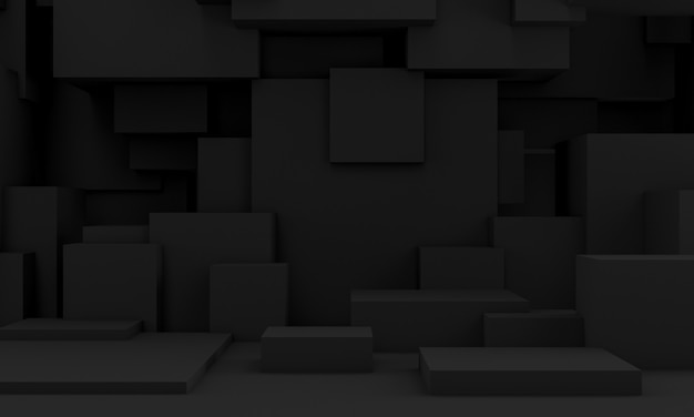 Immagine 3d di una priorità bassa modificata scura di una serie di solidi cubici.