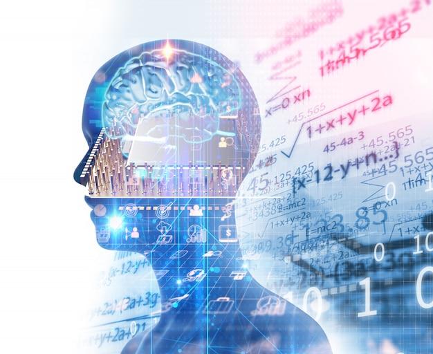 Immagine a doppia esposizione di umano virtuale