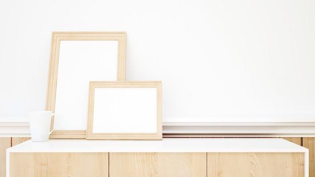 Immagine bianca della struttura e della tazza per materiale illustrativo - rappresentazione 3d