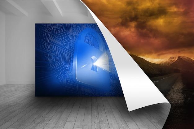 Immagine blu della serratura su sfondo tempestoso