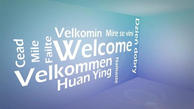 Immagine creativa del concetto di benvenuto internazionale