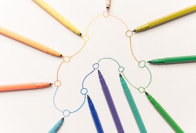 Immagine del percorso lineare con punti dipinti con pennarelli colorati su carta bianca. spazio per logo, titoli