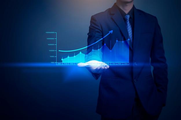 Immagine del primo piano del grafico del disegno dell'uomo d'affari, strategia aziendale come concetto