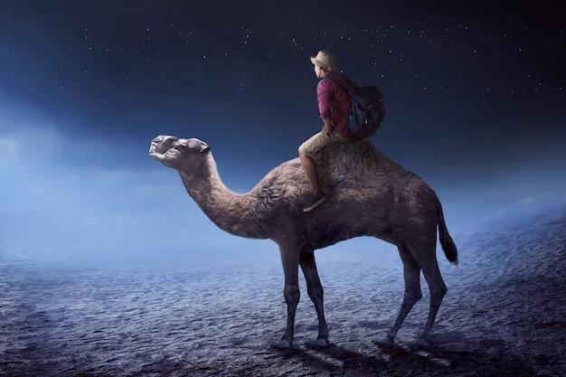 Immagine del viaggiatore che guida il cammello