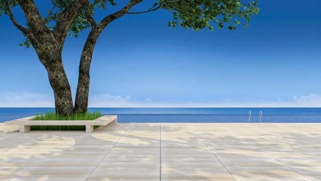 Immagine della rappresentazione 3d di grande albero sul terrazzo di legno