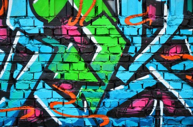 Immagine dettagliata del disegno dei graffiti di colore.