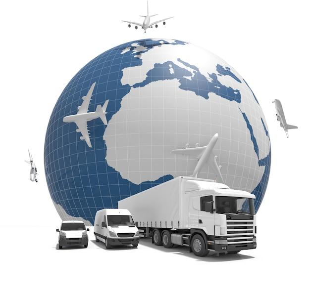 Immagine di consegna globale 3d