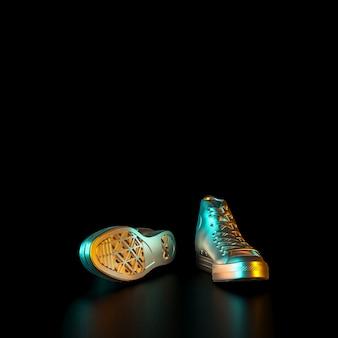 Immagine di scarpe da ginnastica color oro su sfondo nero.