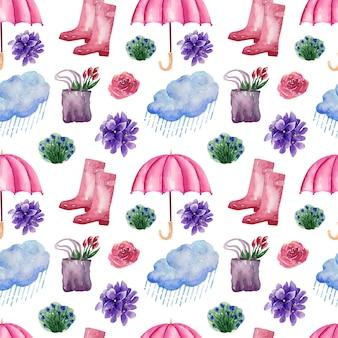 Immagine di sfondo ad acquerello pioggia di primavera