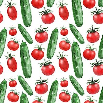 Immagine di sfondo ad acquerello pomodori e cetrioli