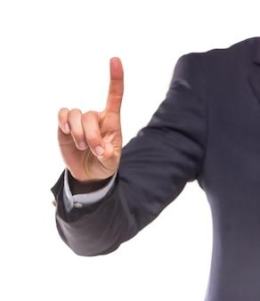 Immagine di un uomo d'affari che spinge un pulsante immaginario.
