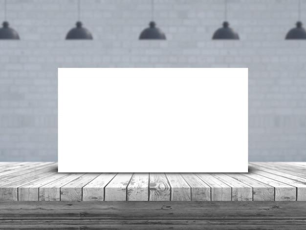 Immagine in bianco 3d su una tavola di legno con l'immagine vuota defocussed della stanza