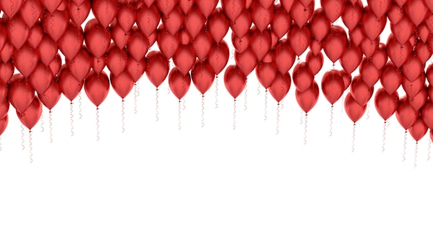 Immagine isolata di un pallone rosso sopra bianco