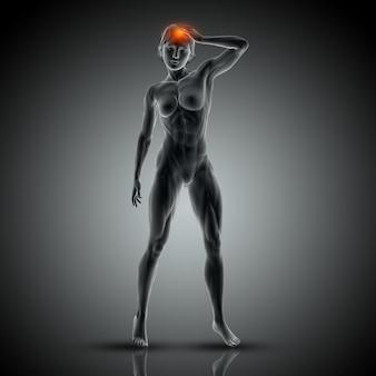 Immagine medica 3d con la femmina che tiene la sua testa nel dolore