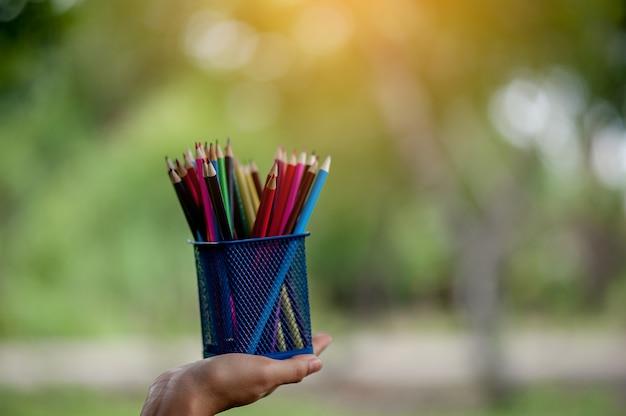 Immagini di mano e matita, colore di sfondo verde concetto di educazione con spazio di copia