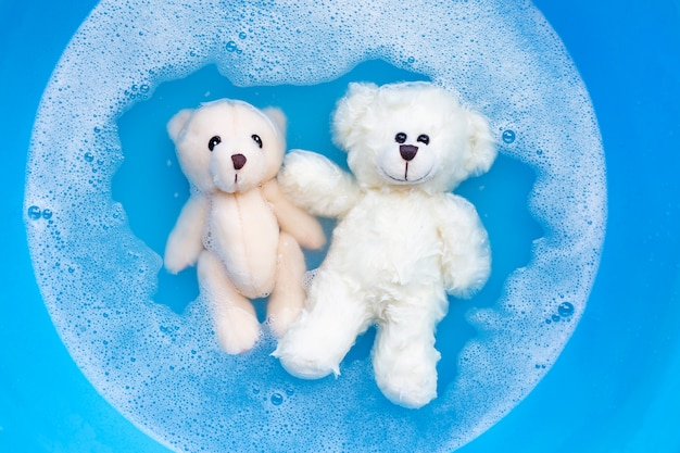Immergere due orsi giocattolo nella dissoluzione dell'acqua detergente per bucato prima del lavaggio. concetto di lavanderia,