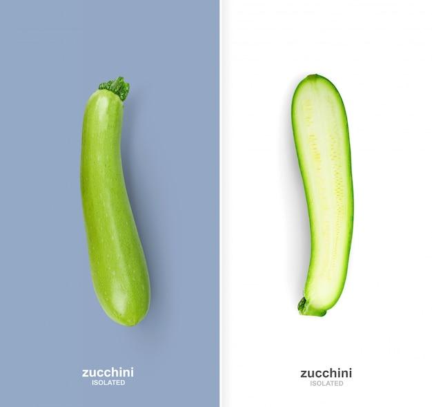 Impaginazione creativa con isolate zucchine intere e metà.