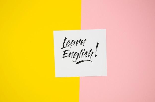 Impara l'inglese nota adesiva mock-up