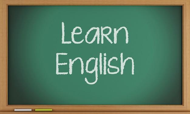 Impara l'inglese scritto sulla lavagna.
