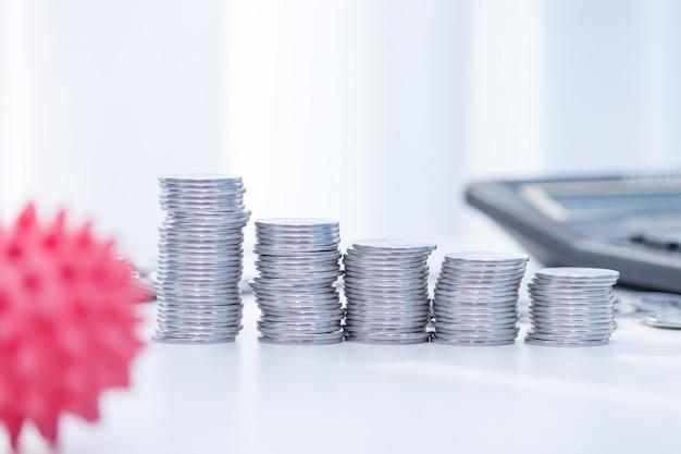 Impatto del coronavirus sull'economia. monete, calcolatrice sulla scrivania. concetto di medicina e denaro, spese per covid-19.