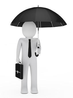 Impiegato con la cartella e l'ombrello