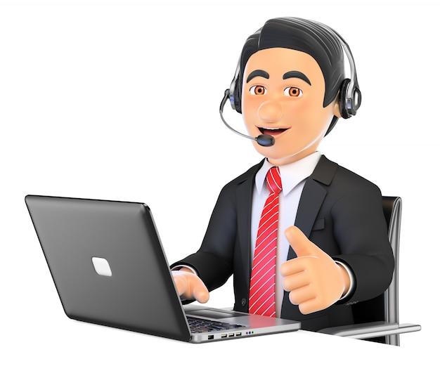 Impiegato della call center 3d che lavora con il pollice in su