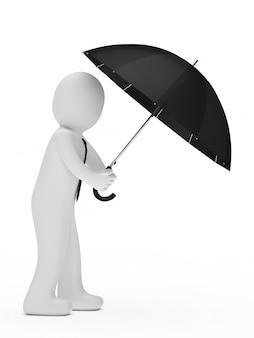 Impiegato sotto un ombrello nero