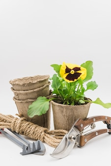 Impilati di vasi di torba; fascio di funi; attrezzi da giardinaggio e cesoie isolati su sfondo bianco