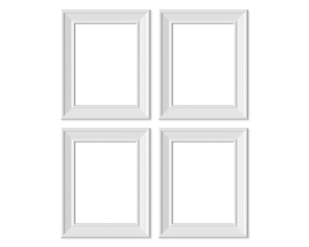 Imposta 4 cornici verticali 3x4. carta bianca realisitc, bianco in legno o plastica.