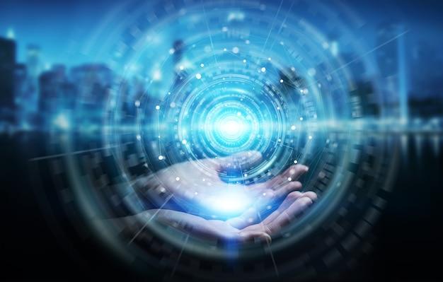 Imprenditrice utilizzando l'interfaccia di connessione di rete digitale, rendering 3d