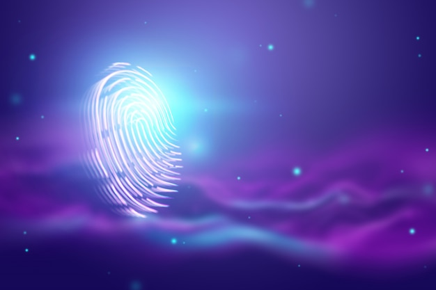 Impronta digitale ologramma futuristico, blu, ultravioletto