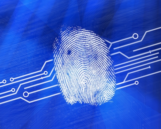 Impronta digitale su sfondo blu digitale