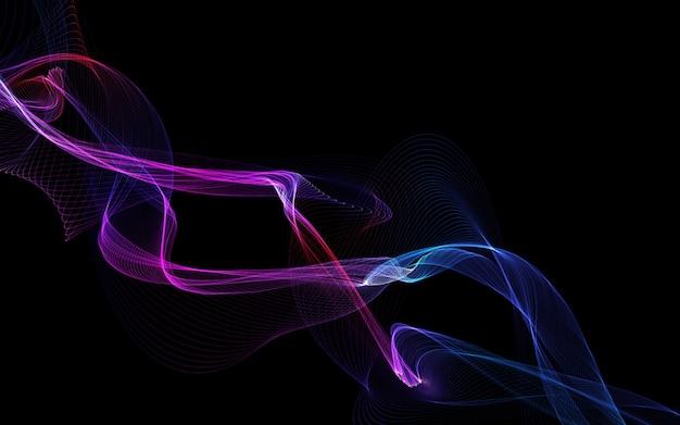 Incandescente onda colorata su uno sfondo scuro