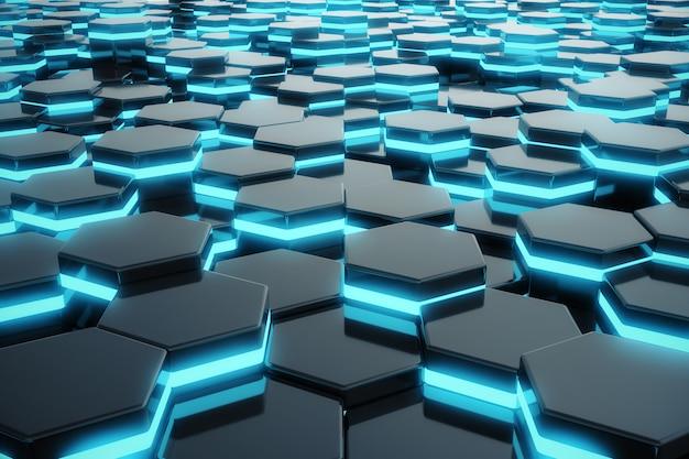 Incandescenza blu astratta del modello futuristico di esagono di superficie.