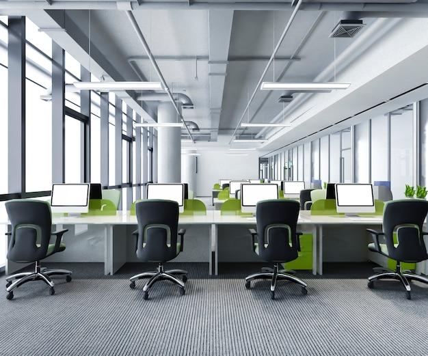 Incontro di lavoro verde e sala di lavoro in edificio per uffici