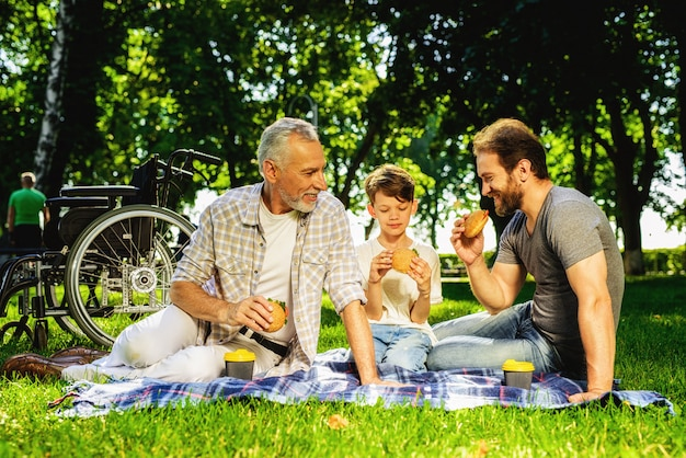 Incontro familiare nei parenti del parco con picnic
