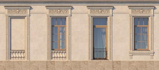 Incorniciatura di finestre in stile classico sulla pietra. rendering 3d.
