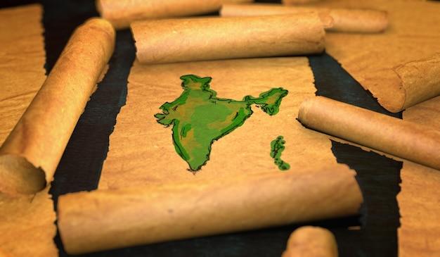 India mappa pittura unfolding old paper scorrimento 3d