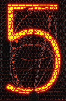 Indicatore del tubo nixie, primo piano dell'indicatore di scarica del gas della lampada. numero cinque di retrò. rendering 3d.