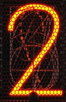 Indicatore del tubo nixie, primo piano dell'indicatore di scarica del gas della lampada. numero due del retrò. rendering 3d.