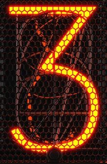 Indicatore del tubo nixie, primo piano dell'indicatore di scarica del gas della lampada. numero tre di retrò. rendering 3d.