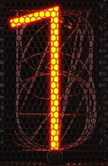 Indicatore del tubo nixie, primo piano dell'indicatore di scarica del gas della lampada. numero uno del retrò. rendering 3d.