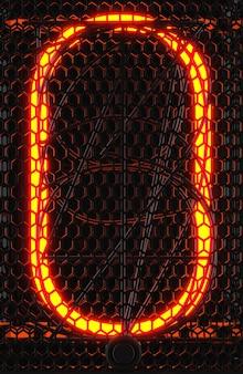 Indicatore del tubo nixie, primo piano dell'indicatore di scarica del gas della lampada. numero zero di retrò. rendering 3d.