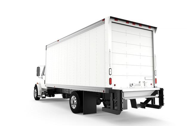 Indietro camion bianco isolato su bianco