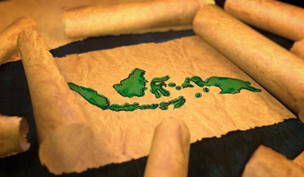 Indonesia mappa pittura unfolding old paper scorrimento 3d