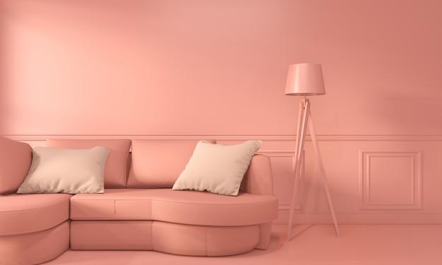 Inetrior soggiorno in corallo con divano e decorazione in stile corallo vivente. rendering 3d