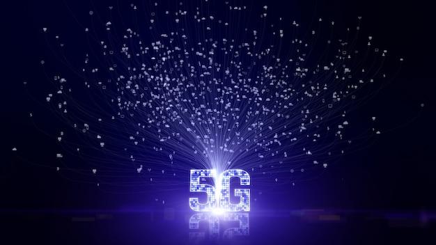 Informazioni futuristiche di dati digitali di connettività 5g dello sfondo di cose