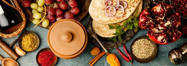 Ingredienti della tradizione mediorientale o araba, laici piatti